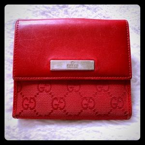 GUCCI Red Leather French Wallet